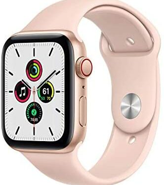 Apple Watch SE (GPS + Cellular, 40mm) - Gold Aluminum Case with Pink Sand Sport Band (Renewed)