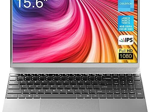 BiTECOOL Laptop 2021 New Windows 10 Pro, 15.6 inches Full HD IPS Display, Intel Celeron Quad Core, 8GB RAM and 256GB SSD, Expandable up to 1TB, Full Size Keyboard, Slim