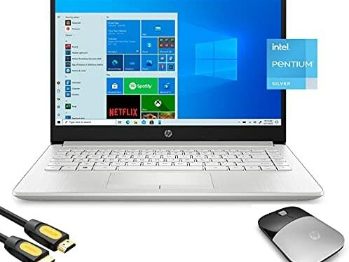 """HP 14"""" HD Micro-Edge Slim Laptop Platinum, Intel Quad-Core Pentium Silver N5030 up to 3.10GHz, 8GB RAM, 128GB SSD, USB-C, Webcam, HDMI, Ethernet, Wireless Mouse, Mytrix_HDMI Cable, Win 10"""