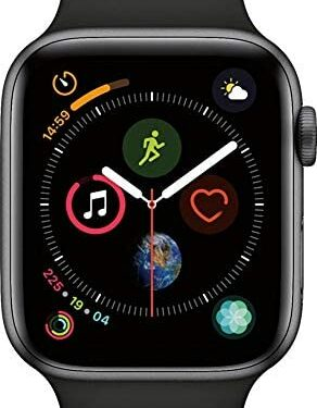 (Renewed) Apple Watch Series 4 (GPS, 44MM) - Space Gray Aluminum Case with Black Sport Band