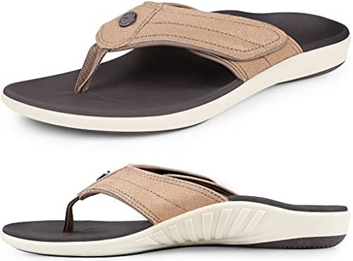 Womens Leather Flip flops with Arch Support, Plantar Fasciitis Orthotics Sandals, Non-Slip Casual Flip-Flops